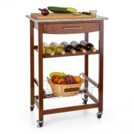 Klarstein Zimmerservice servírovací vozíček, kuchynský vozík, polička na víno, granitová doska, hnedý
