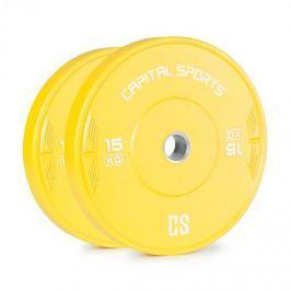 Capital Sports Nipton, bumper kotúč, závažie   1 x 15kg   tvrdená guma, žltá farba