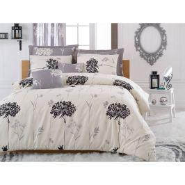 Béžovo-sivé obliečky s plachtou na dvojlôžko Efil Beige Grey, 200×220cm