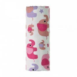 T-tomi BIO Bambusová osuška s potlačou 90 x 100 cm Pink elephants / růžoví sloni